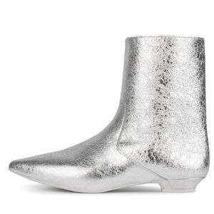 Jeffery Campbell. galaxie booties. Silver crinkle.